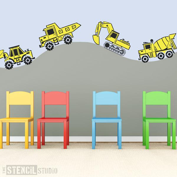 Construction vehicles from The Stencil Studio Ltd - Size L/A2