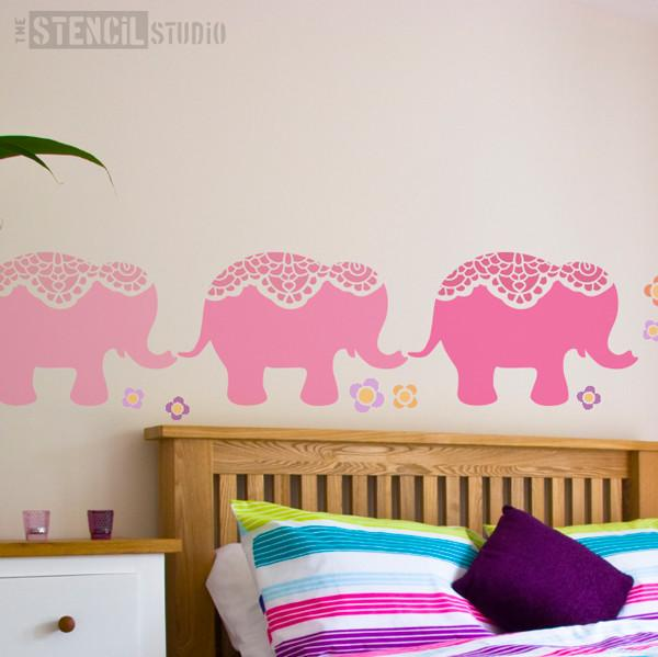 Nellie Elephant Nursery Stencil at The Stencil Studio - Stencil Size L