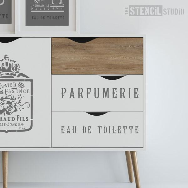 Parfumerie French Vintage Text stencil from The Stencil Studio - Size L