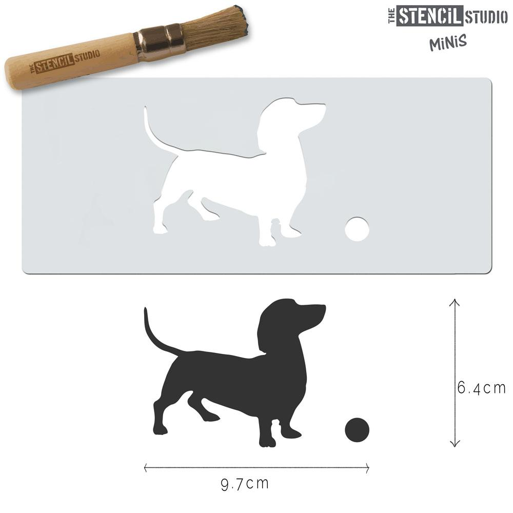 Dachshund Dog and Ball stencil MiNi from The Stencil Studio