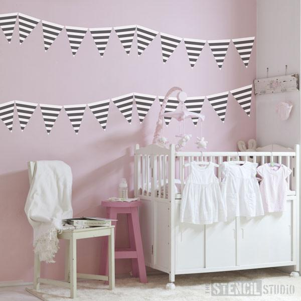 Stripe Bunting Stencil from The Stencil Studio Ltd - Size XS
