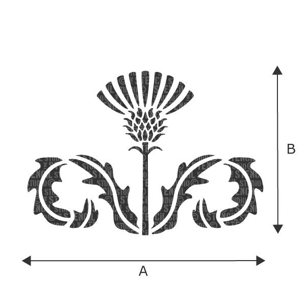 Thistle Flourish stencil - size A & B can be found in the 'choose size' dropdown box