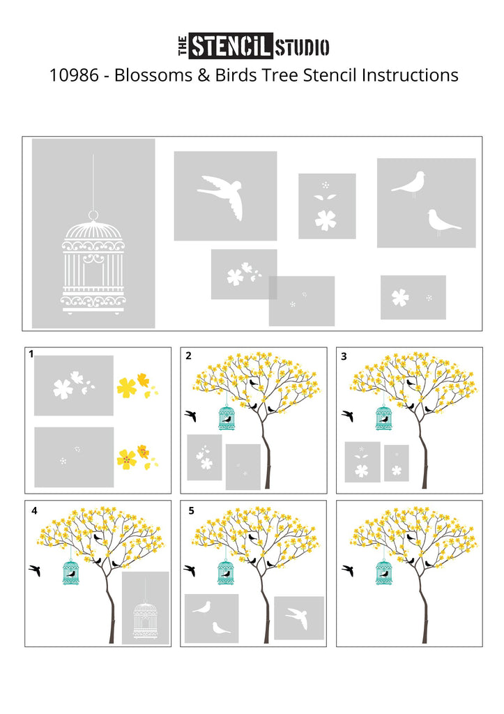 Triangle Tree with Birdcage, Birds and Blossoms from The Stencil Studio Ltd - Instructions for painting the blossoms etc