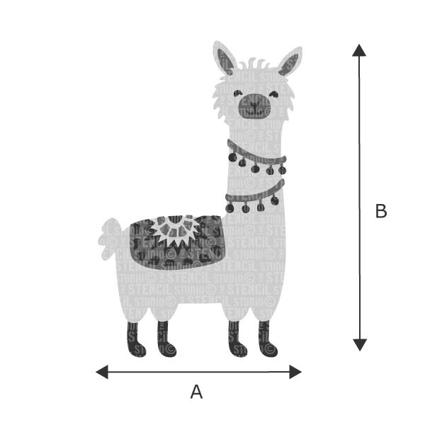 Size chart for Lionel Llama stencil from The Stencil Studio Ltd