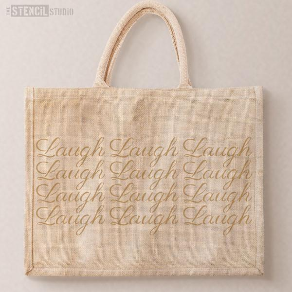 Laugh text stencil from The Stencil Studio Ltd - Size XS