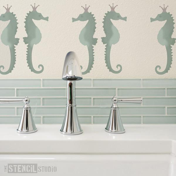 Serene Seahorses stencil from The Stencil Studio Ltd - Size S