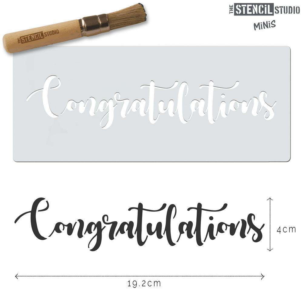 Congratulations text stencil MiNi from The Stencil Studio