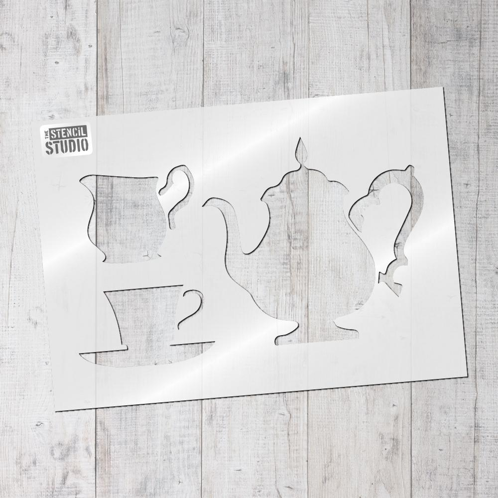 Teatime, teapot, cup and jug stencil from The Stencil Studio