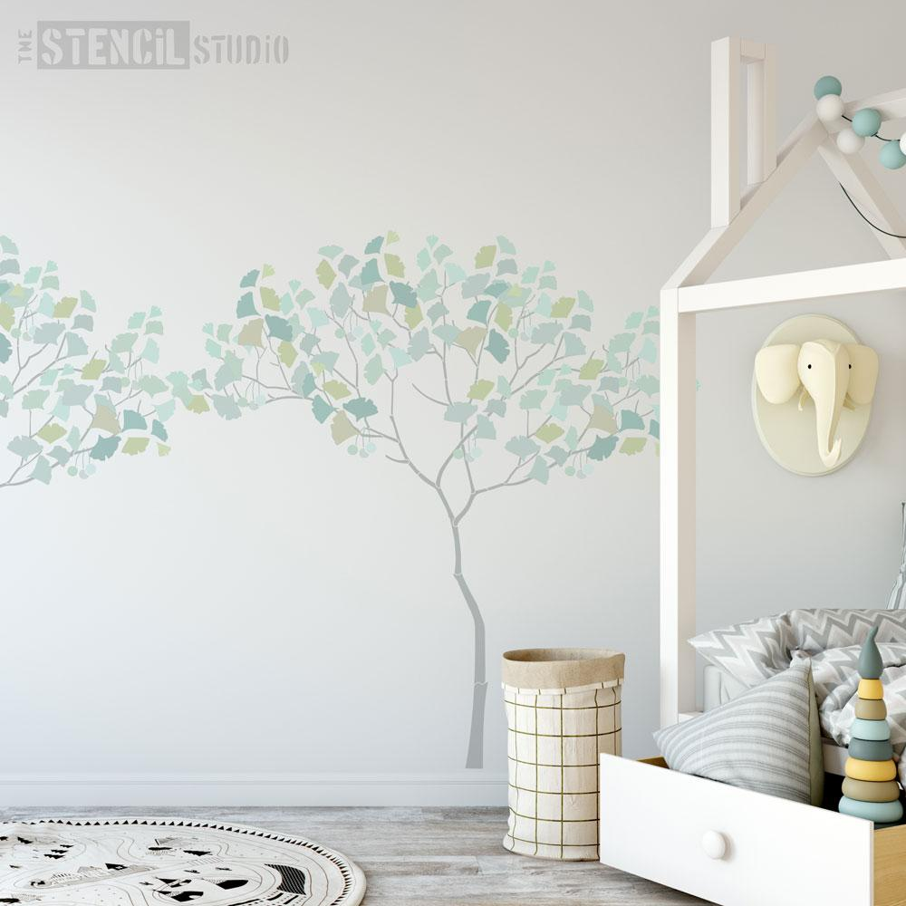 Triangle Tree with Ginko leaves and berries from The Stencil Stencil - Size XL