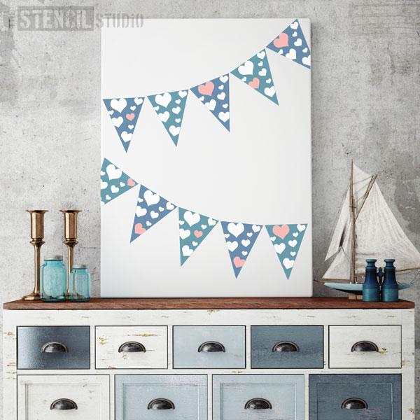 Mini hearts Bunting stencil from The Stencil Studio Bunting collection - size XS