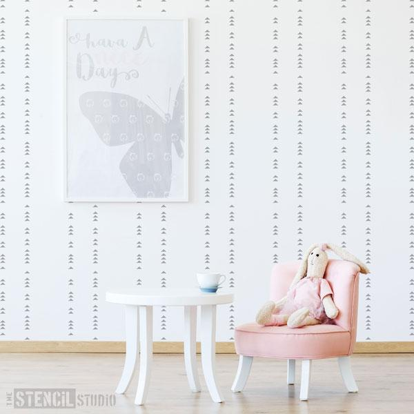 Trekant diamond pattern stencil from The Stencil Studio Scandi stencils range - Size XS