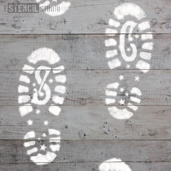 Santa Claus Footprints stencil set - size S