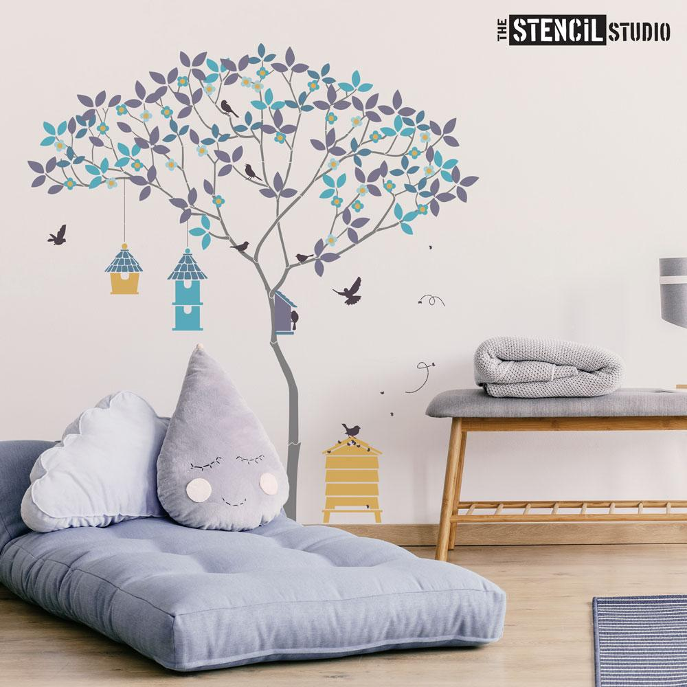 Triangle Tree with Birds and Bees stencil pack - everything you need to create this beautiful tree wall mural - Size L
