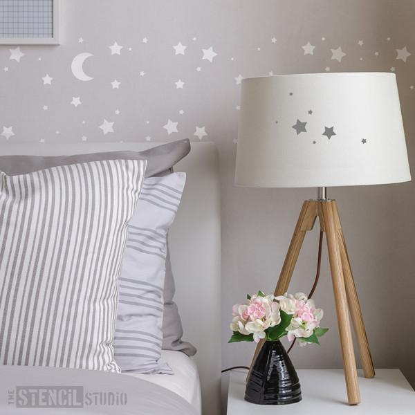 Moon and Stars Childrens Nursery Wall Stencil from The Stencil Studio - Stencil Size XS