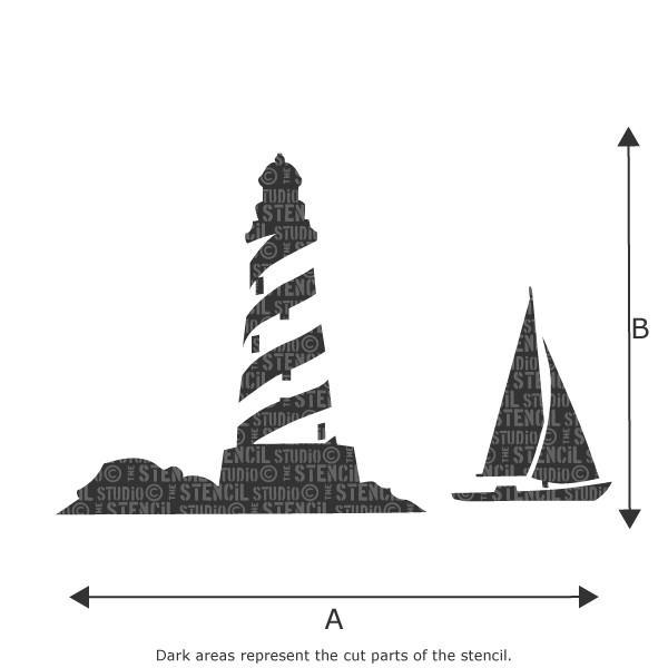 cape lighthouse and yacht stencil from the stencil studio ltd
