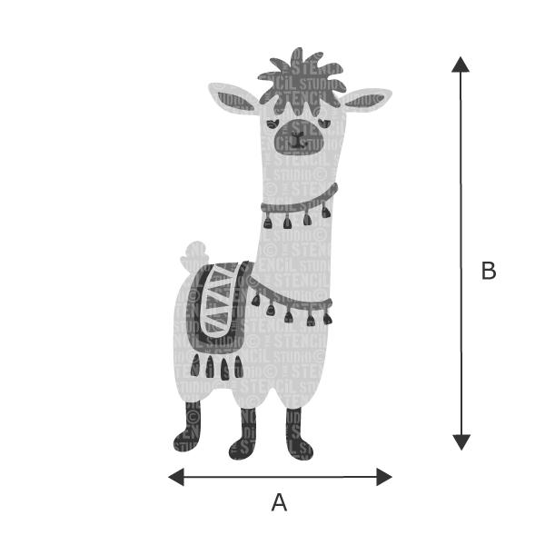 Levi Llama stencil from The Stencil Studio - Choose size from the drop down box
