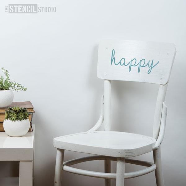Happy text stencil from The Stencil Studio - Size S