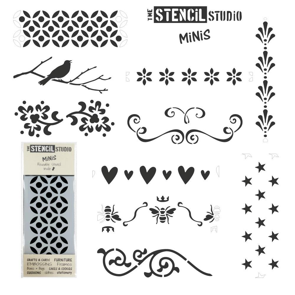 Set of 10 Stencil MiNiS from The Stencil Studio - Shabby Chic stencils