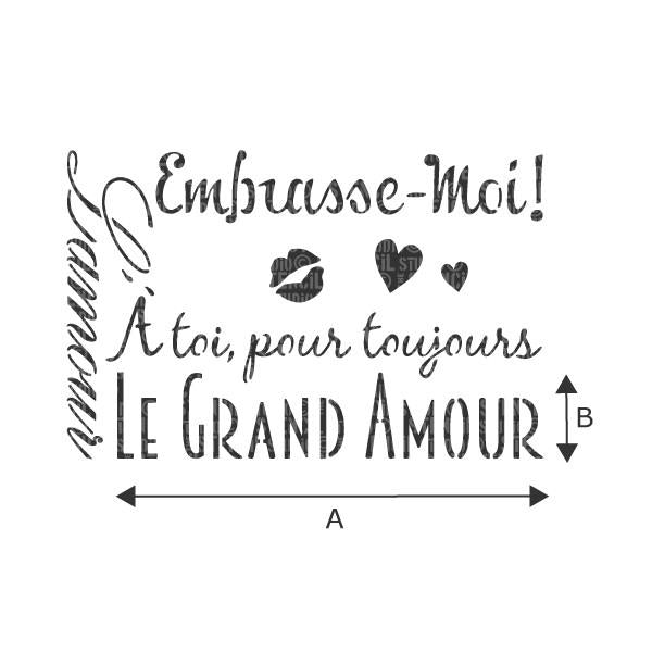 Le Grand Amour French love text stencil from The Stencil Studio