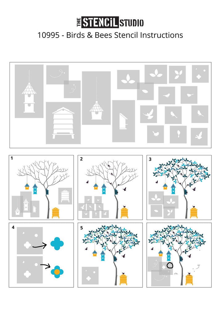 Assembly instructions for the Birds and Bees stencil pack