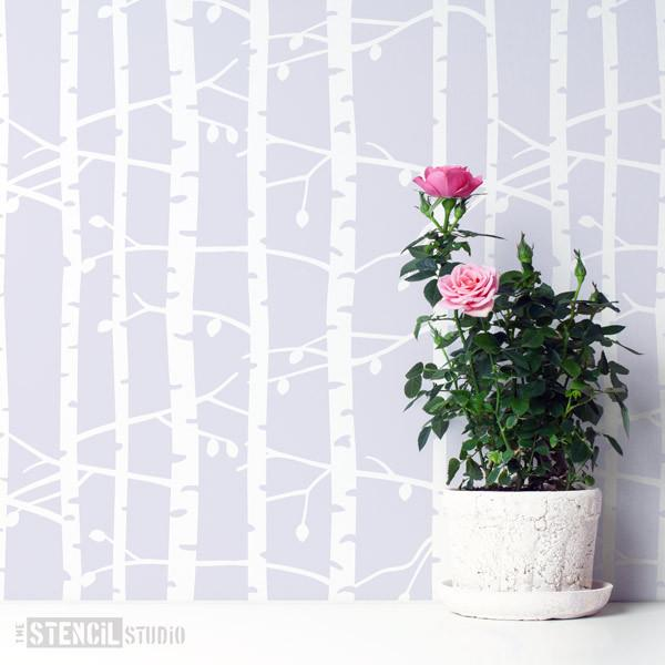 Birch Tree repeat forest stencil from The Stencil Studio Ltd - Size M. Repeat this stencil for a wallpaper effect in a Scandi style decor scheme.