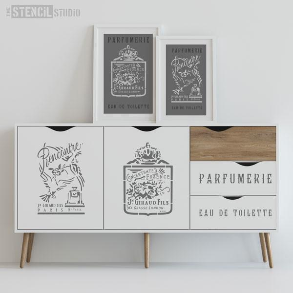 Recontre French Vintage Perfume label stencil - size L - seen here with other stencil designs from our range