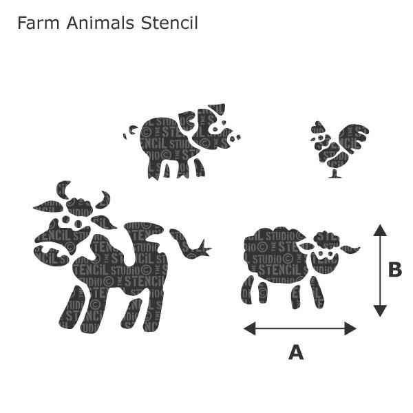 Farm Animals Stencil from The Stencil Studio Ltd