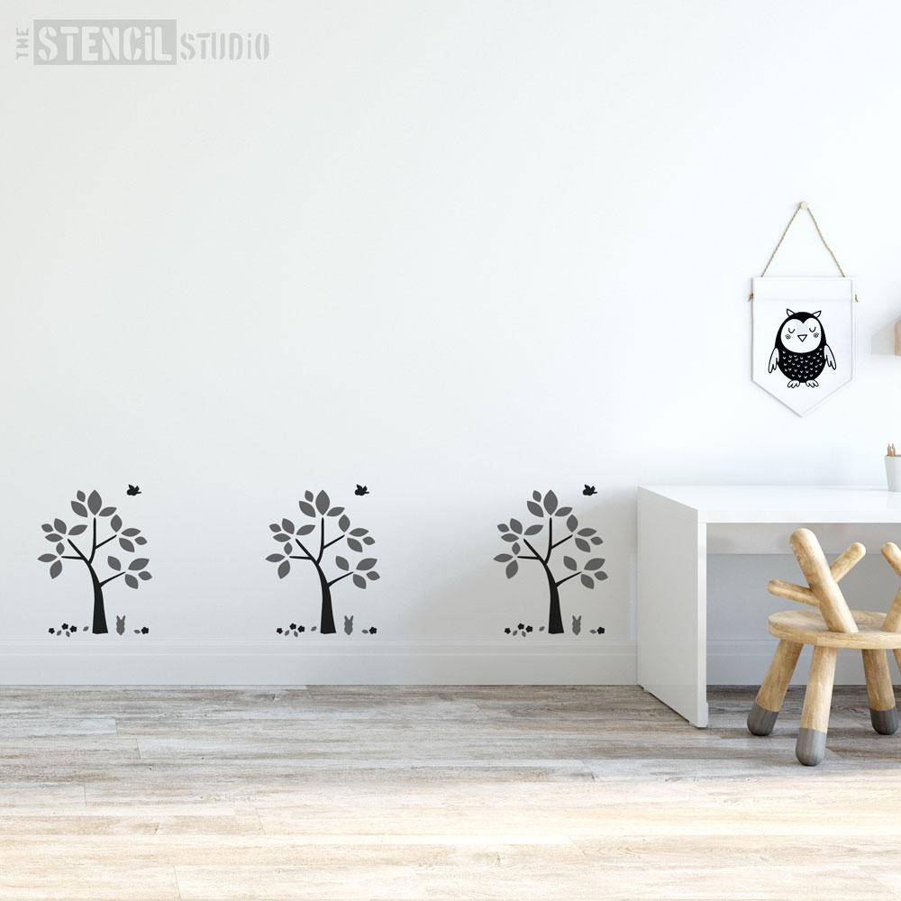 Little Tree & Friends stencil from The stencil Studio - Size XS