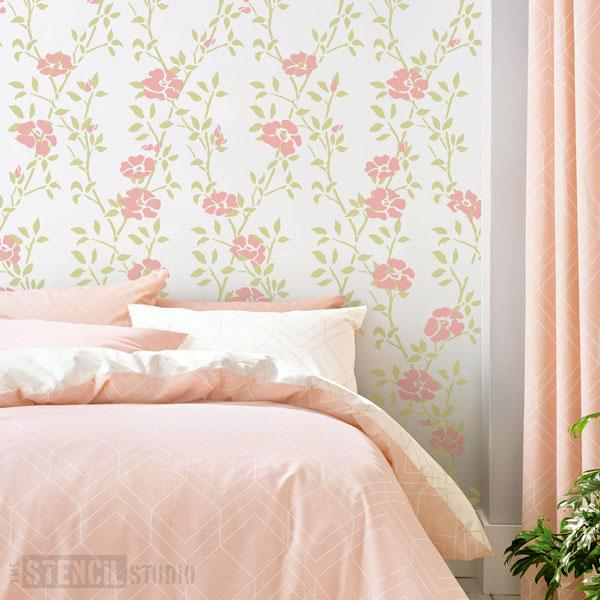 Leaf Trellis with Roses stencil set from The Stencil Studio - Size XL