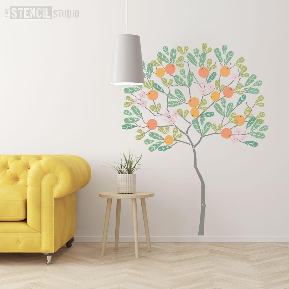 Round Tree with Oranges Stencil Pack