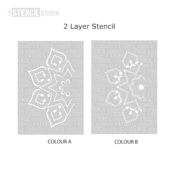 Mandi Mandal Stencil - Indian stencils from The Stencil Studio Ltd - 2 layer stencil