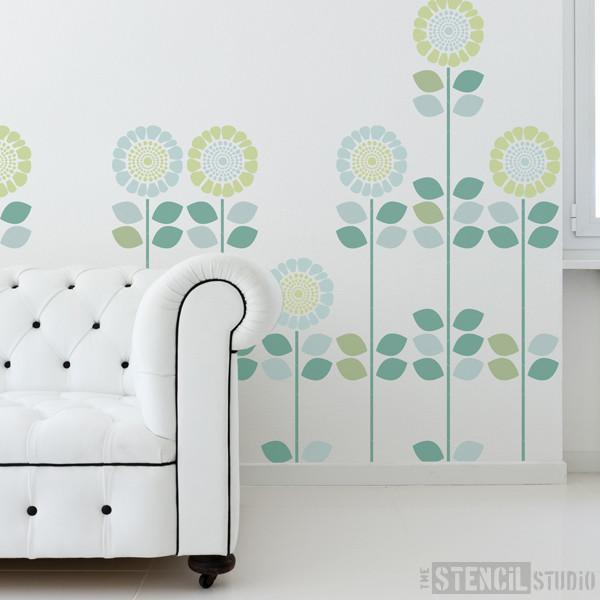 Solsikke sunflower stencil from The Stencil Studio Ltd - Size L