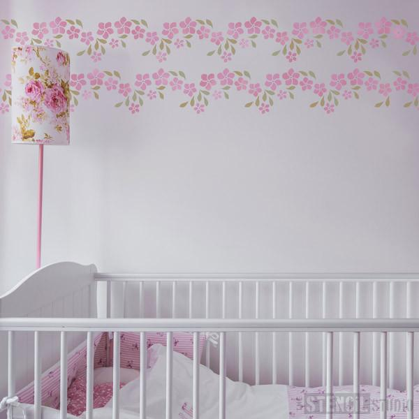 Frangipani Garland border stencil from The Stencil Studio Ltd - Size M