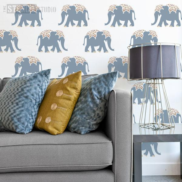 Indian Elephant stencil from The Stencil Studio - Size XS