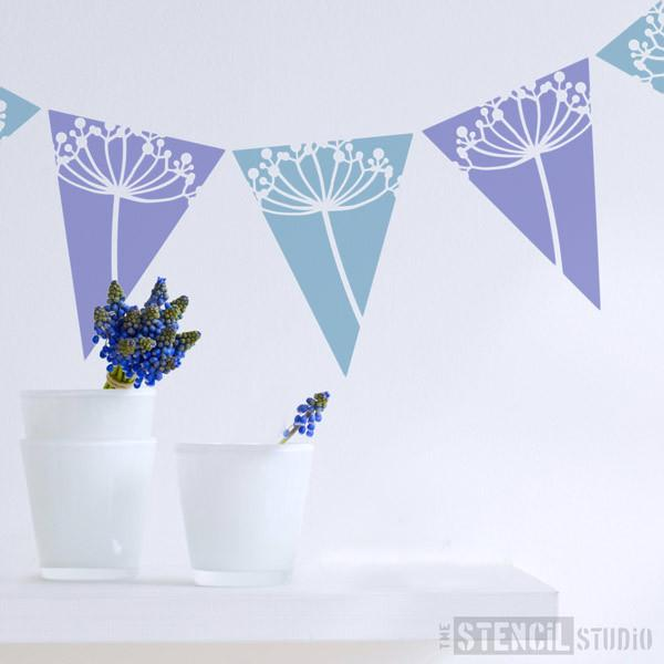 Cow Parsley Bunting stencil from The Stencil Studio Ltd - Size XS