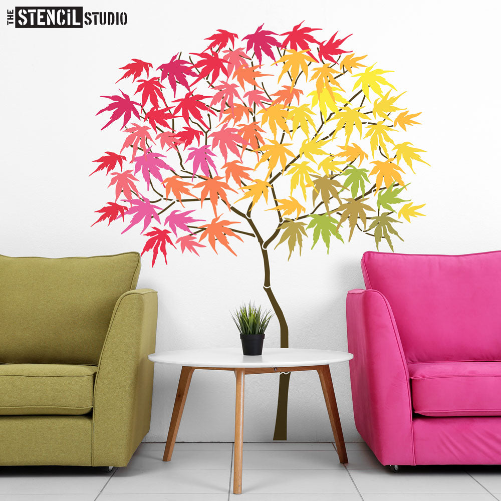 Round Tree with Maple Leaves Stencil Pack