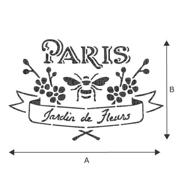 Paris jardin - French vintage label stencils from The Stencil Studio - see dropdown box for A and B measurements