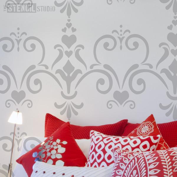 Love Damask stencil from The Stencil Studio Ltd - Size XL