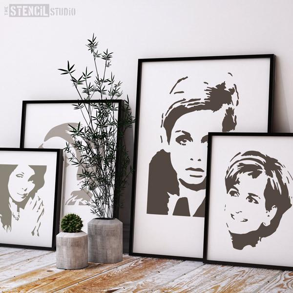 Mixed celeb faces stencils, various sizes