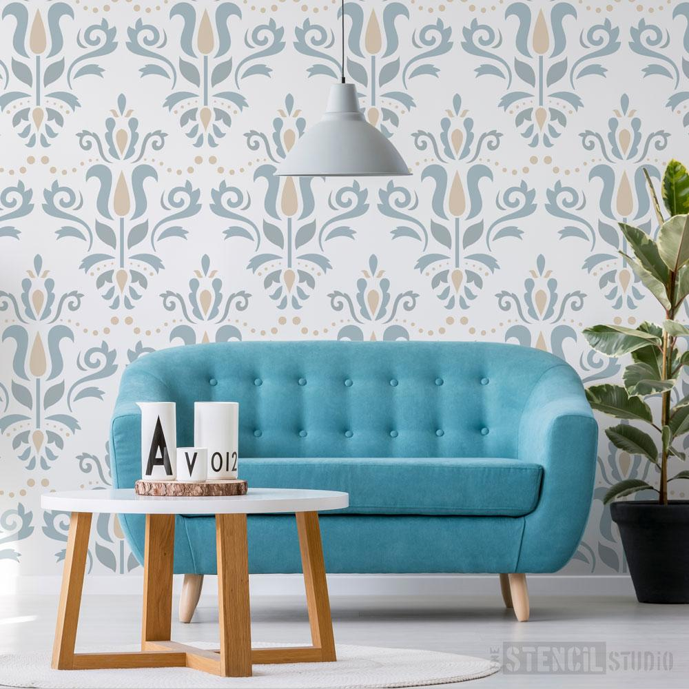 Scandi Damask Stencil from The Stencil Studio - Size XL