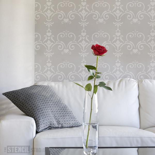 Love Damask stencil from The Stencil Studio Ltd - Size S
