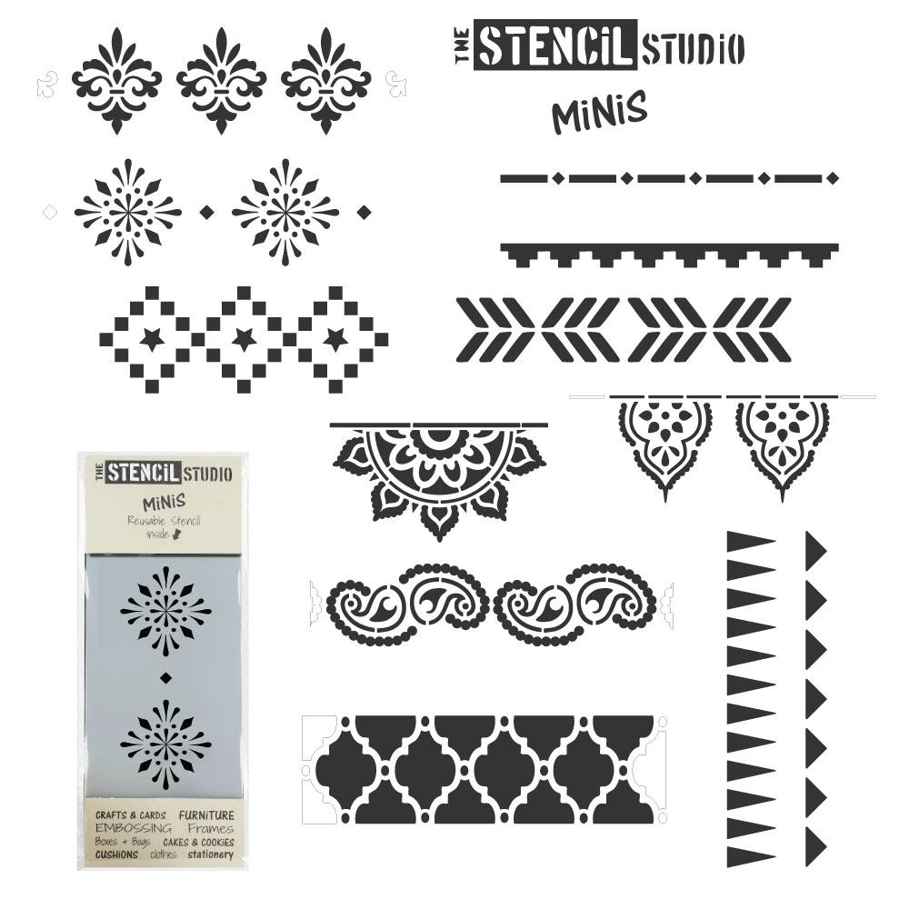 Stencil MiNiS set of 10 designs - patterns and borders