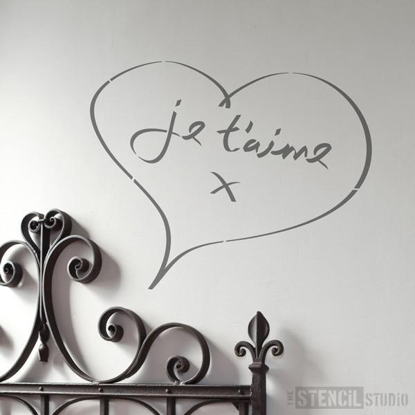 Je T'aime Heart stencil from The Stencil Studio Ltd - Size XL