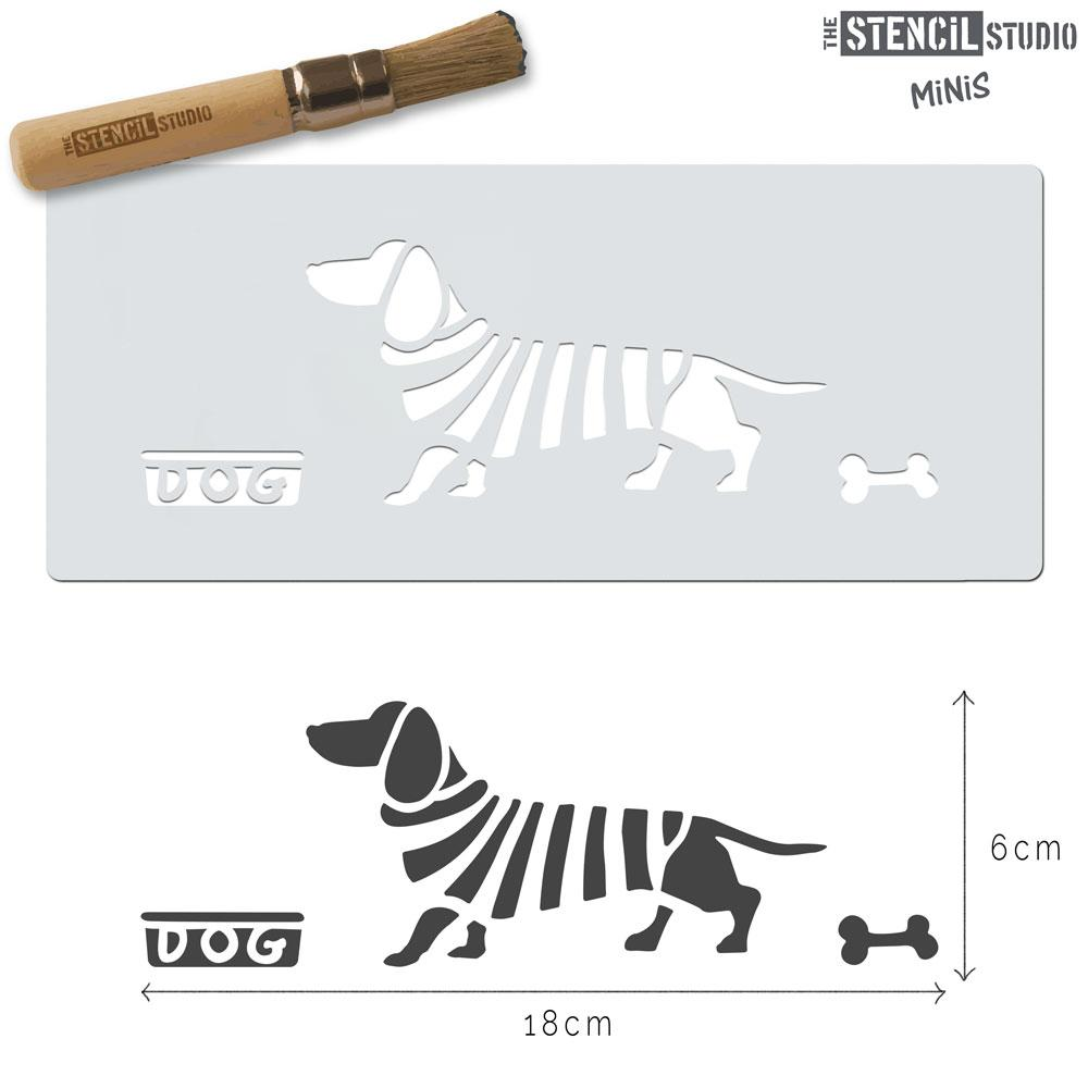 Dachshund Dog in Stripes stencil MiNi from The Stencil Studio