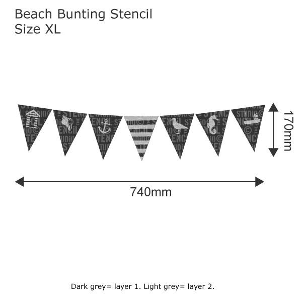 beach bunting stencil from the stencil studio ltd