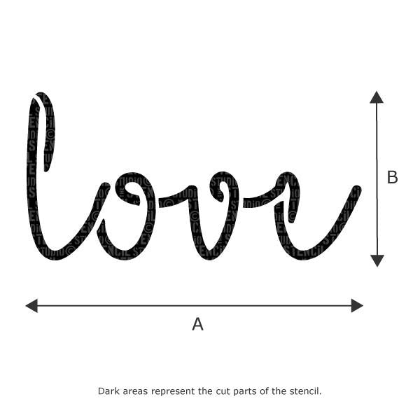 Love Text Stencil from The Stencil Studio - Stencil Size Chart
