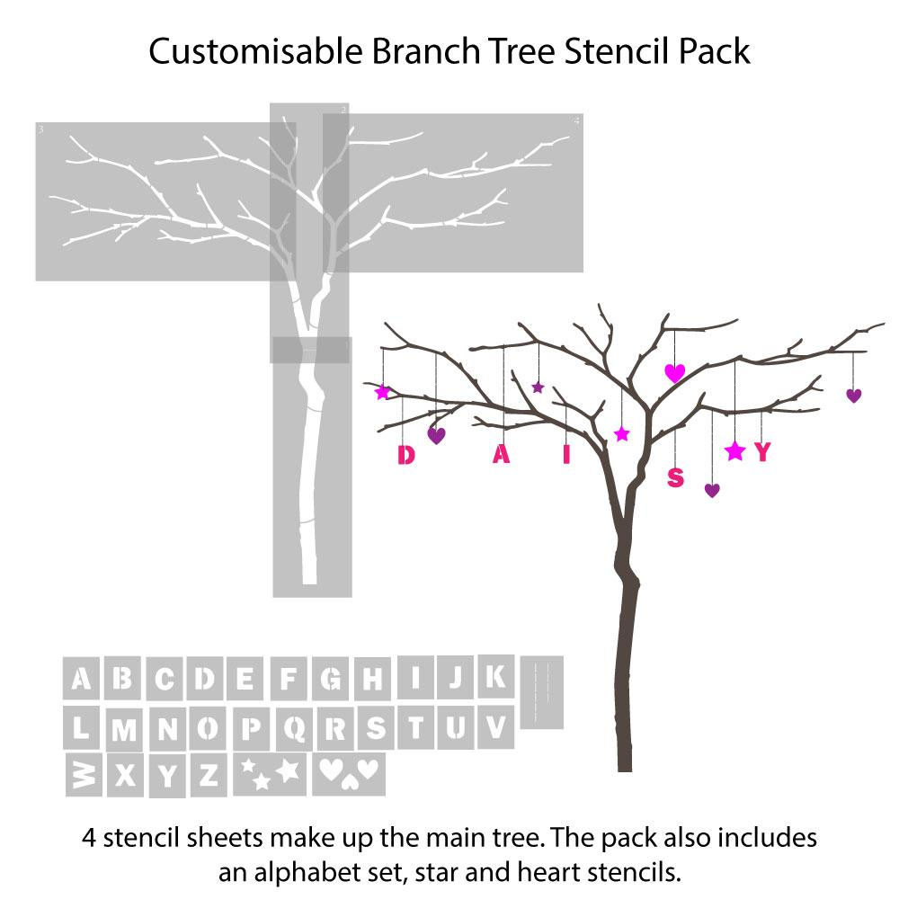 branch tree stencils - this is what you'll receive
