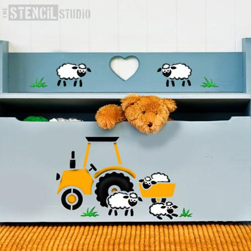 Tractor and Sheep stencil from The Stencil Studio Ltd - Size S