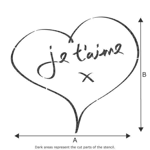 Je T'aime Heart stencil from The Stencil Studio Ltd