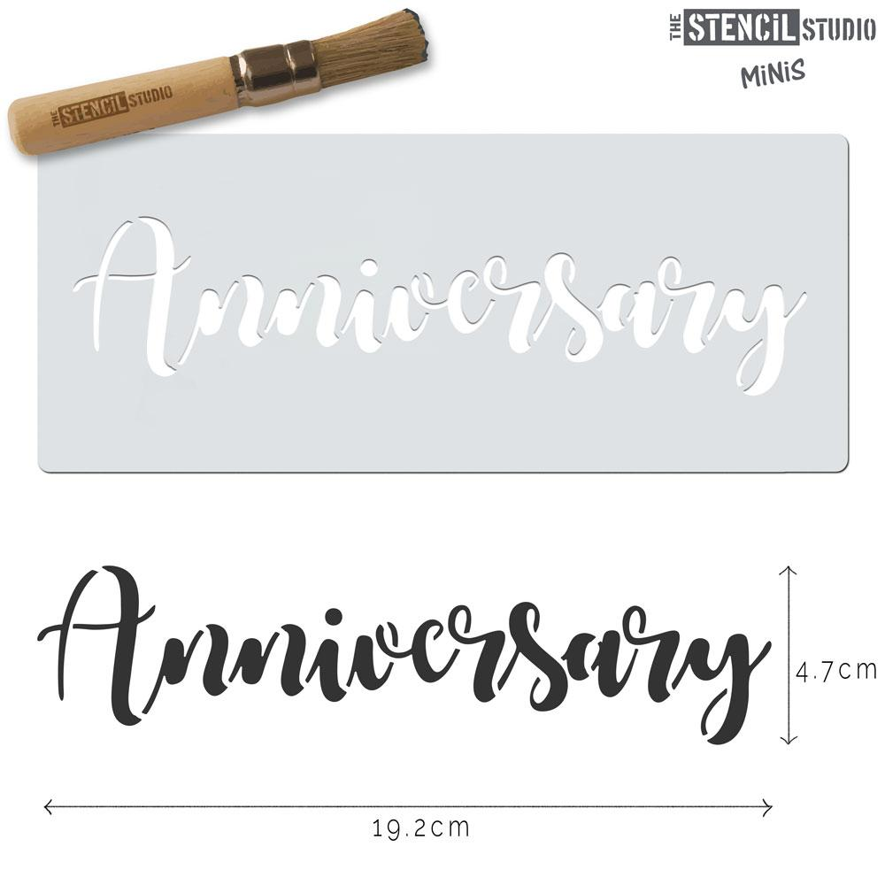Anniversary Text stencil MiNi from The Stencil Studio